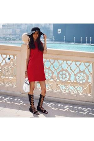 red Mango dress - black felt Topshop hat - white leather Faith bag