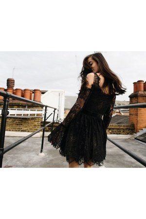 black lace dress Revolve dress