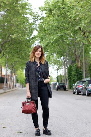 black Zara jeans - Zara blazer - Zara shirt - bim bag - bim bag