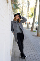 black Stradivarius hat - charcoal gray SANDRO coat - heather gray Zara jeans