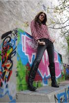 black Bershka boots - Bershka jeans