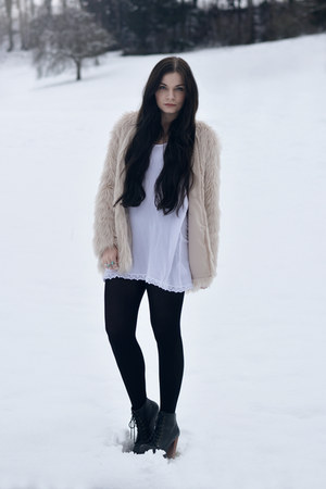white H&M dress - black Jeffrey Campbell boots - light pink H&M jacket