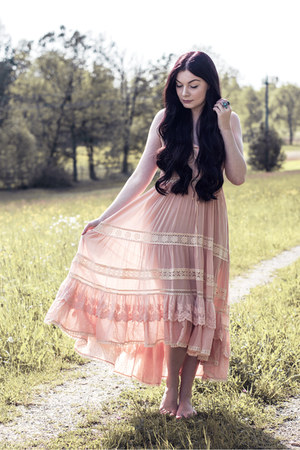 light pink Spell Designs dress - silver brandy melville ring