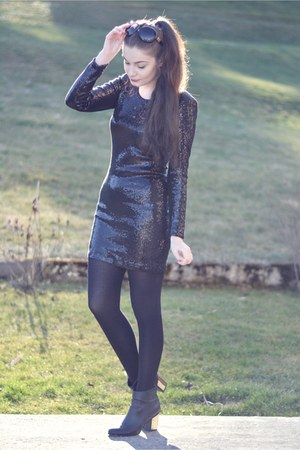 black new look boots - black Vila dress - black H&M sunglasses