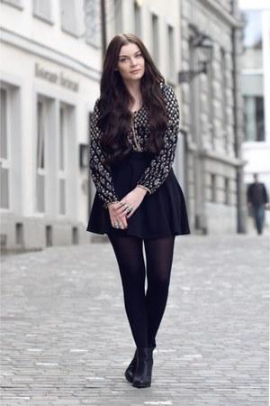 black new look boots - black H&M skirt - black romper