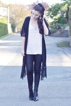black H&M boots - light pink H&M top - black Urban Outfitters cardigan