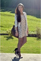 white H&M blazer - neutral brandy melville dress