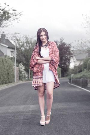 white Zara shoes - white H&M dress - brick red Arnhem cardigan