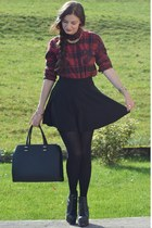 black H&M bag - maroon BDG shirt - black H&M skirt