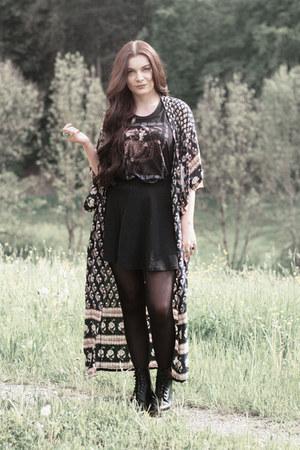 black Dr Martens boots - black H&M shirt - black Spell Designs cardigan