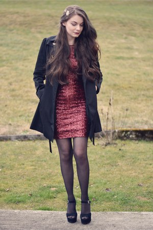 black H&M coat - ruby red TFNC LONDON dress - black Steve Madden heels
