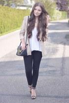 black H&M jeans - peach H&M blazer - black Aldo bag - black H&M heels