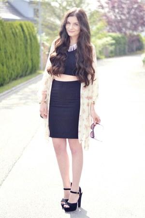 H&M skirt - Aldo bag - H&M top - brandy melville cardigan - Steve Madden heels