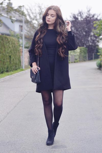 black H&M boots - black Zara dress - black H&M coat - black Mango bag