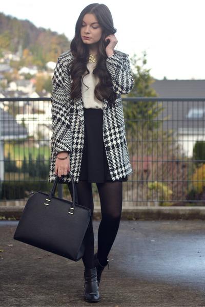 black H&M shoes - black Mango coat - black H&M bag - white H&M jumper
