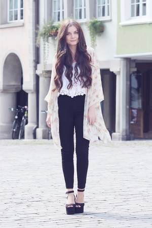 black H&M jeans - white H&M top - light yellow brandy melville cardigan