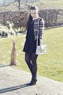 black new look boots - black H&M dress - black H&M jacket - sky blue Aldo bag