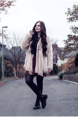 maroon Urban Outfitters dress - light pink H&M jacket