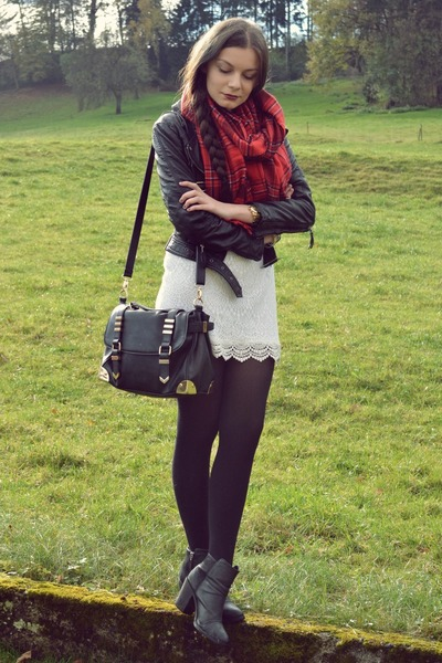 white H&M dress - black H&M jacket - red H&M scarf
