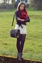 white H&M dress - black H&M jacket - red H&M scarf