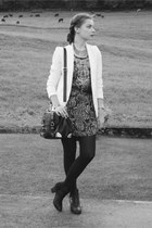 black H&M dress - white H&M blazer - black Aldo bag