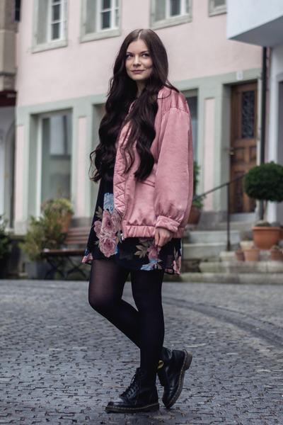 black 1460 matte Dr Martens boots - black Honey Punch dress - pink Mango jacket