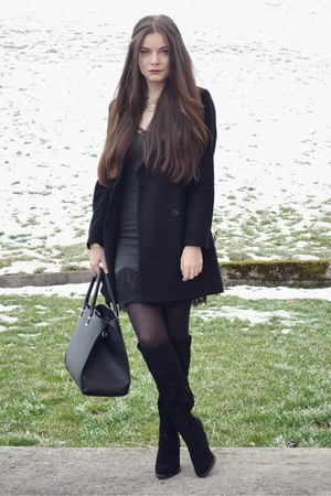black Zara boots - charcoal gray Zara dress - black Zara coat - black H&M bag
