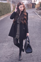 black K by Kookai boots - army green H&M dress - black Zara coat - black H&M bag