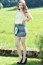 aquamarine Mango bag - aquamarine Factorie skirt - white Vero Moda top