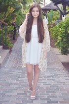 white c&a dress - light yellow brandy melville cardigan - white Zara heels