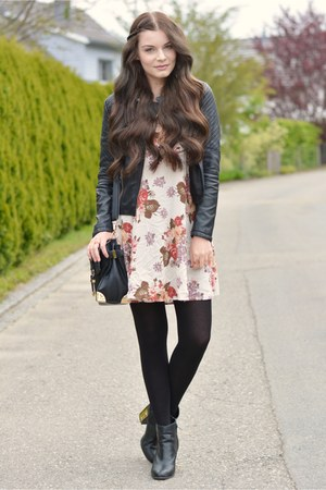 beige brandy melville dress - black new look boots - black new look jacket