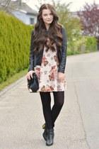 beige brandy melville dress - black new look boots - black new look jacket