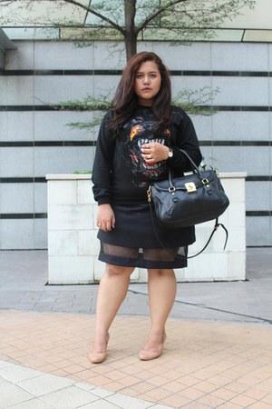black romwe sweater - black Charles & Keith bag - black Benash skirt