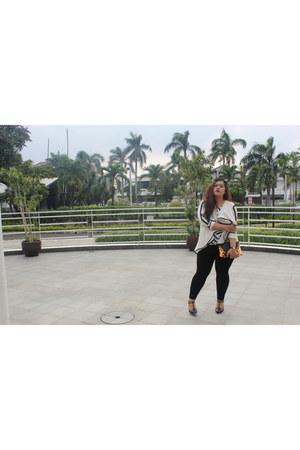 black velvet asos leggings - white drapery Retail Therapy blazer