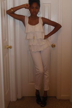 white Express blouse - black Shoe Carnival shoes - white PacSun jeans