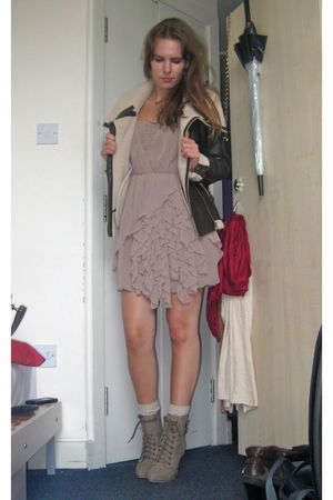 pink H&M dress - brown lindex jacket - beige Primark shoes