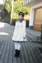 black Sinela boots - off white H&M coat - ivory falke stockings - blue Mango ski