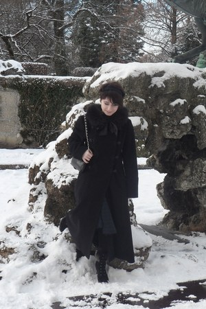 black Sinela boots - black EB Company coat - black Bijou Brigitte bag - DIY acce