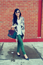 white Urban Outfitters coat - teal Celine bag