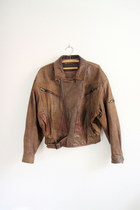 Dark-brown-leather-biker-sergeant-fox-vintage-jacket