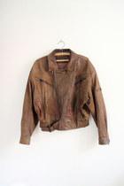 dark brown leather biker sergeant fox vintage jacket