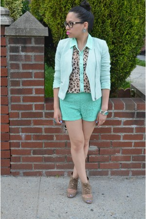 aquamarine H&M blazer - aquamarine unknown shorts - aquamarine Marshalls top