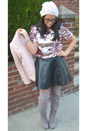 pink Forever 21 top - heather gray JustFab boots - light pink Zara jacket