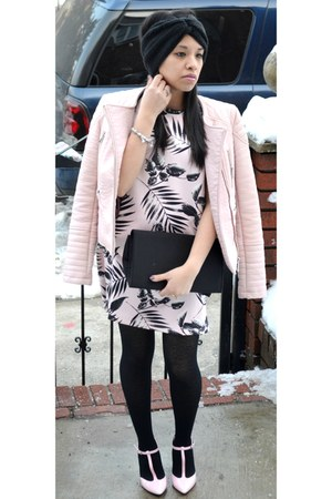 light pink Zara shoes - light pink Forever 21 dress - light pink Zara jacket