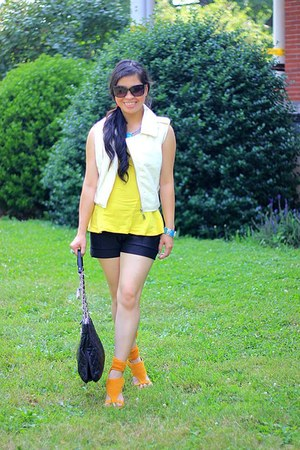 DKNY purse - H&M shorts - ivory leather TJ Maxx vest - mustard wedges