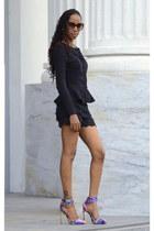 black peplum asos blazer - lace shorts - Priviledge heels