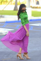 amethyst pleated skirt skirt - green Express blouse