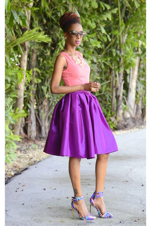magenta flare Chicwish skirt - heels Privileged shoes - salmon peplum top
