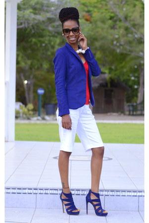 blue H&M blazer - white bermuda shorts NY&CO shorts