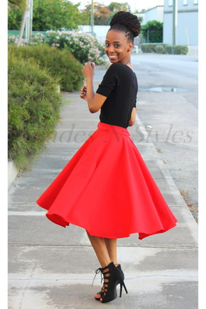 red full flare choiescom skirt